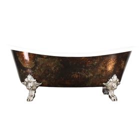 'The Alexander' Cast Iron French Bateau Clawfoot Tub with Artist Applied Antiqued Copper Leafing and Drain