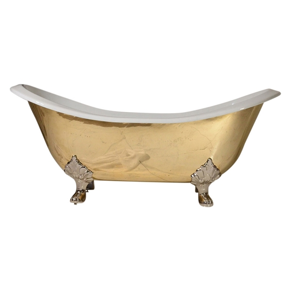 "'The Avignon-73' 73"" PURE METAL Polished Brass Exterior Double Slipper Cast Iron Clawfoot Tub and Drain"