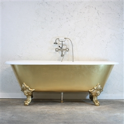 <br>'The Balmoral' Cast Iron Double Ended Clawfoot Tub with Hand Applied Faux Gold Leaf Exterior plus Drain<BR>