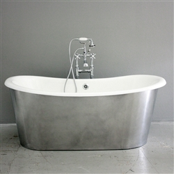 "<br>'The Bardsey59' 59"" Cast Iron French Bateau Tub with BURNISHED ALUMINUM Exterior plus Drain<BR>"