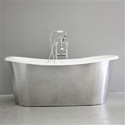 "<br>'The Bardsey73' 73"" Cast Iron French Bateau Tub with BURNISHED ALUMINUM Exterior plus Drain<BR>"