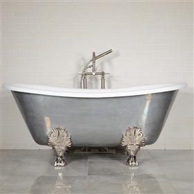 "<br>'The Biarritz' 68"" Cast Iron French Bateau Clawfoot Tub with a Misty Aged Zinc Exterior with Drain"
