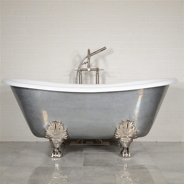 "'The Biarritz' 68"" Cast Iron French Bateau Clawfoot Tub with PURE METAL Misty Aged Zinc Exterior and Drain"