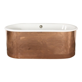 "'The Bishopsgate61' 61"" Cast Iron Double Ended Tub with Mirror Polished Solid Copper Exterior and Drain"