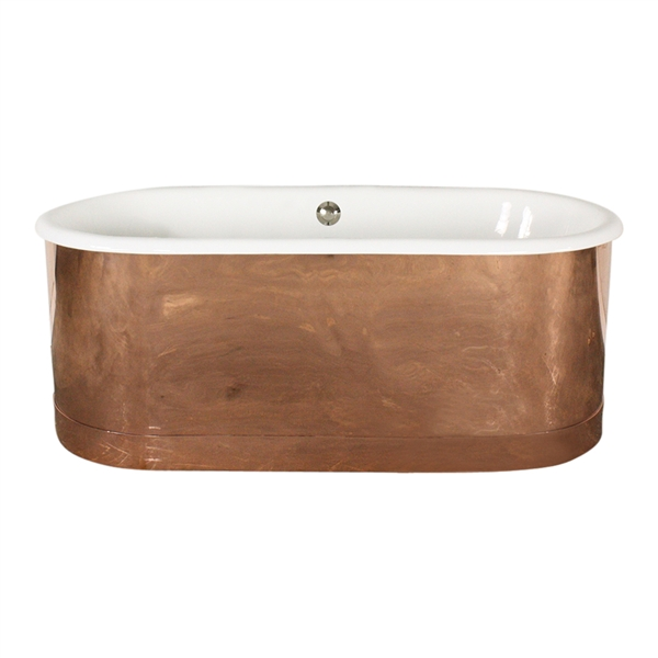 "'The Bishopsgate66' 66"" Cast Iron Double Ended Tub with Mirror Polished Solid Copper Exterior and Drain"