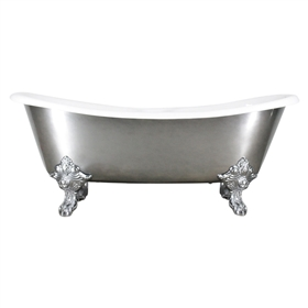 "'The Bolton' 73"" Cast Iron French Bateau Clawfoot Tub with Aged Chrome Exterior and Drain"