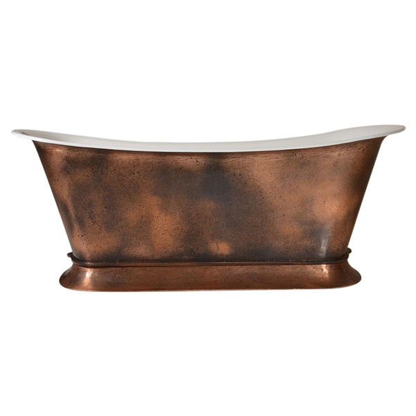 "'The BordeauxAgedCopper59' 59"" Cast Iron Chariot Tub with PURE-METAL Aged Copper Exterior and Drain"