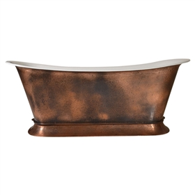 "'The BordeauxAgedCopper67' 67"" Cast Iron Chariot Tub with PURE-METAL Aged Copper Exterior and Drain"