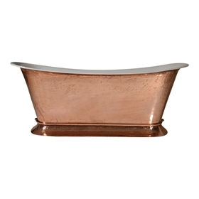 "PURE METAL Polished Copper Exterior 'Bordeaux-59' 59"" Cast Iron Chariot Plinth Tub and Drain"