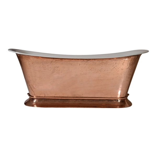 "PURE METAL Polished Copper Exterior 'Bordeaux-73' 73"" Cast Iron Chariot Plinth Tub and Drain"