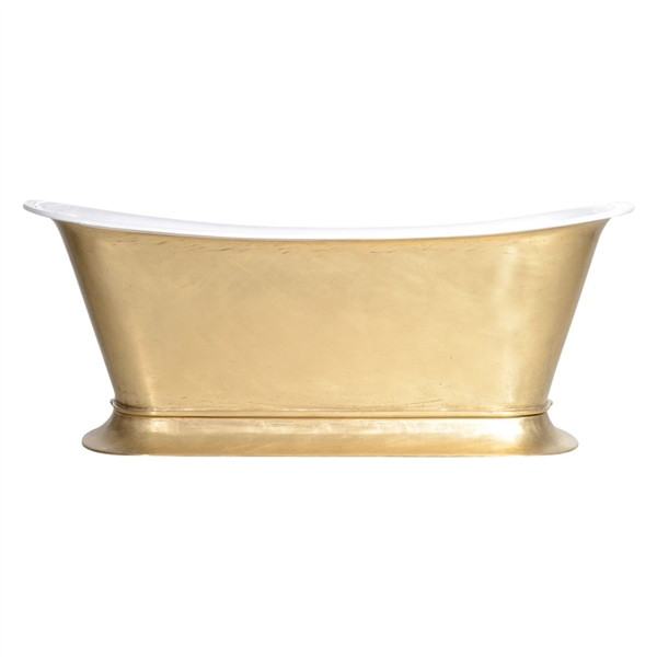 "'The Bordeaux-LFBU-67' 67"" Cast Iron Chariot Tub with a LIVING FINISH Brass Exterior plus Drain"
