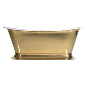 'The Bordeaux-PB-59' Cast Iron Chariot Tub with PURE METAL Polished Brass Exterior and Drain