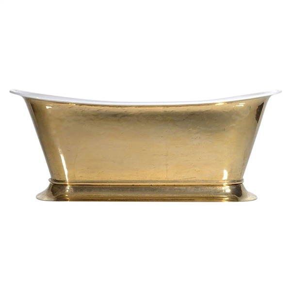 'The Bordeaux-PB-73' Cast Iron Chariot Tub with PURE METAL Polished Brass Exterior and Drain