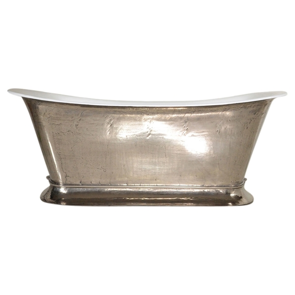 "The Bordeaux-PN59' 59"" Cast Iron Chariot Tub with PURE-METAL Polished Nickel Exterior and Drain"