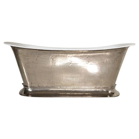 "'The Bordeaux-PN73' 73"" Cast Iron Chariot Tub with PURE-METAL Polished Nickel Exterior and Drain"