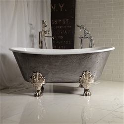 "<br>'The Breadsall' 59"" Cast Iron French Bateau Clawfoot Tub<BR>with a HAND BURNISHED Natural Iron Exterior plus Drain<BR>"