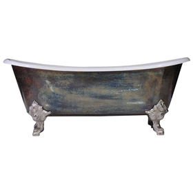 "'The Bridlington-TB73' 73"" PURE METAL Tempered Brass Exterior French Bateau Cast Iron Clawfoot Tub and Drain"