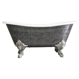 The Bridlington59 Vintage Designer Burnished Cast Iron Clawfoot Bateau Bathtubs from Penhaglion.