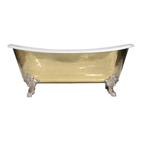 "'The Bridlington-PB-73' 73"" Cast Iron French Bateau Clawfoot Tub with PURE METAL Polished Brass Exterior and Drain"