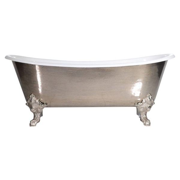 "'The Bridlington-PN-73' 73"" Cast Iron French Bateau Clawfoot Tub with PURE-METAL Polished Nickel Exterior and Drain"