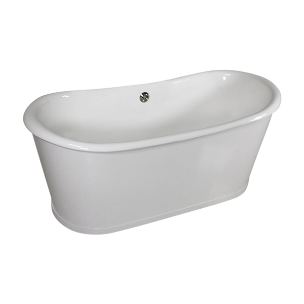 "Any Solid Color 'Bromfield59' 59"" Cast Iron Metal Skirted French Bateau Tub and Drain"