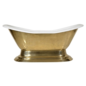 "'The Byland73' 73"" Cast Iron Double Slipper Pedestal Tub with PURE METAL Polished Brass Exterior and Drain"
