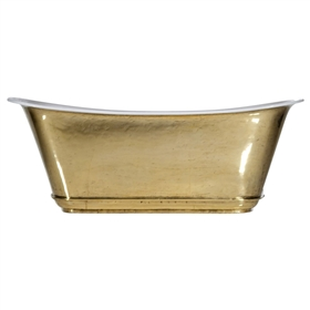"'The Charroux-67-PB' 67"" Cast Iron Chariot Tub with PURE METAL Polished Brass Exterior and Drain"