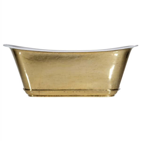 "'The Charroux-73-PB' 73"" Cast Iron Chariot Tub with PURE METAL Polished Brass Exterior and Drain"