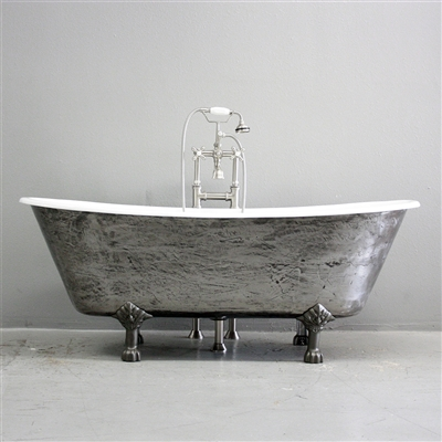 "<br>'The Colchester' 68"" Cast Iron French Bateau Clawfoot Tub<BR>with a HAND BURNISHED Natural Iron Exterior plus Drain<BR>"