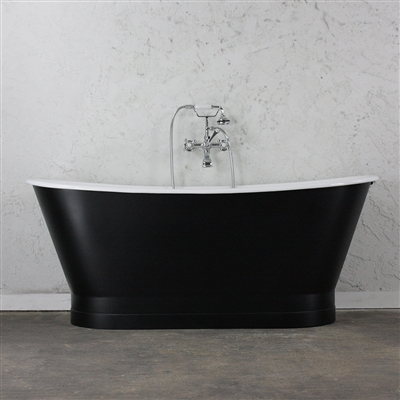 "<br>'The Cadogan' 68"" Cast Iron French Bateau Tub with Eggshell Soft Onyx Black  Exterior plus Drain<BR>"