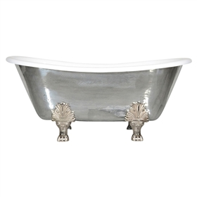 "'The Calais' 68"" Cast Iron French Bateau Clawfoot Tub with PURE METAL Polished Zinc Exterior and Drain"