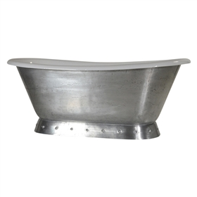 "'The Cannes-MZ' 66"" Cast Iron French Bateau Pedestal Tub with a Pure-Metal Burnished Zinc Finish Exterior plus Drain"