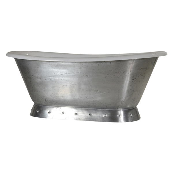 "'The Cannes-MZ' 66"" Cast Iron French Bateau Pedestal Tub with a Pure-Metal Molten Zinc Finish Exterior plus Drain"