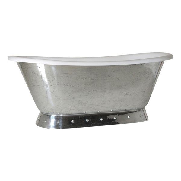 "'The Cannes-PZ' 66"" Cast Iron French Bateau Pedestal Tub with PURE-METAL Polished Zinc Exterior and Drain"