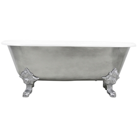 "<br>'The Canterbury66' 66"" Cast Iron Double Ended Clawfoot Tub with an AGED CHROME Exterior plus Drain<br>"