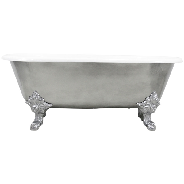 "'The Canterbury66' 66"" Cast Iron Double Ended Clawfoot Tub with Aged Chrome Exterior and Drain"