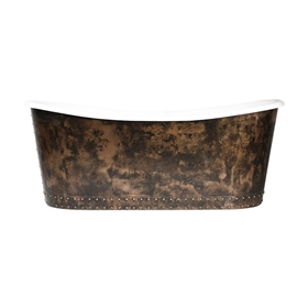 "'The Carmarthen' 73"" Cast Iron French Bateau Tub with Solid Aged Copper Exterior and Drain"