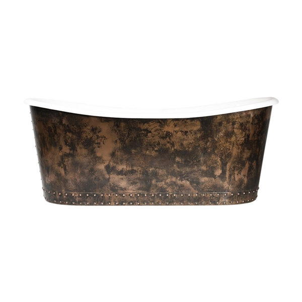 "<br>'The Carmarthen' 73"" Cast Iron French Bateau Tub with Solid Aged Copper Exterior plus Drain<BR>"