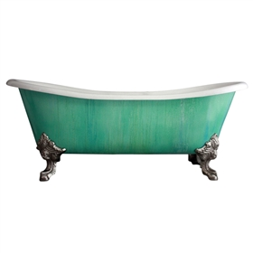"'The Cathryn Adele' 73"" Cast Iron French Bateau Clawfoot Tub with Copper Patina Exterior and Drain"