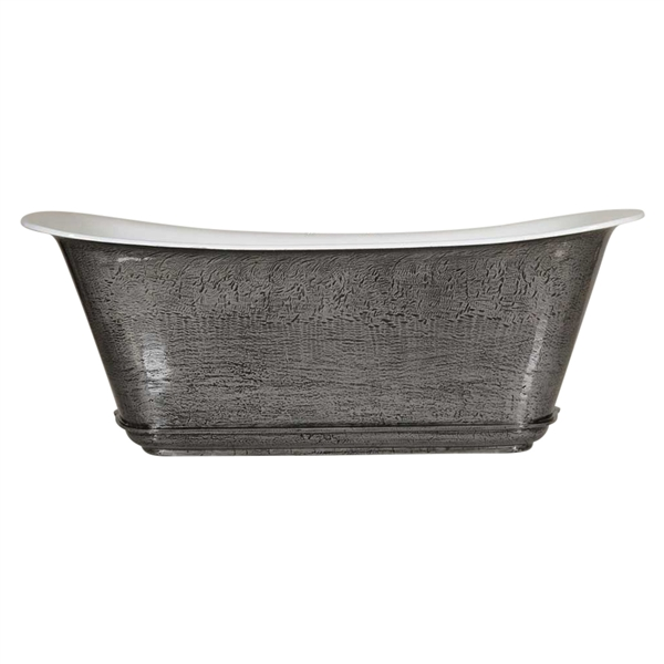 "'The Charroux-59-IB' 59"" Cast Iron Chariot Tub with HAND BURNISHED Natural Iron Exterior and Drain"