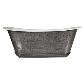"'The Charroux-67-IB' 67"" Cast Iron Chariot Tub with HAND BURNISHED Natural Iron Exterior and Drain"