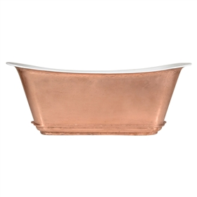 "'The Charroux-LFCU-59' 59"" Freestanding Cast Iron Chariot Tub with a LIVING FINISH Copper Exterior plus Drain"