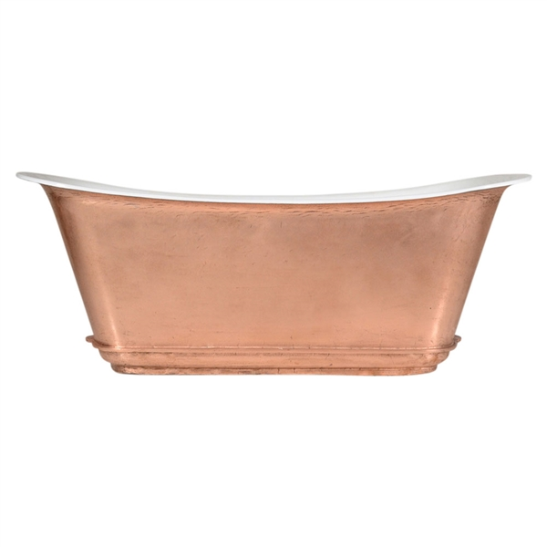 "'The Charroux-LFCU-73' 73"" Freestanding Cast Iron Chariot Tub with a LIVING FINISH Copper Exterior plus Drain"