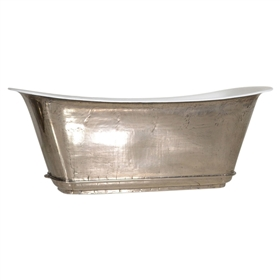 "'The Charroux-67-PN' 67"" Cast Iron Chariot Tub with PURE-METAL Polished Nickel Exterior and Drain"