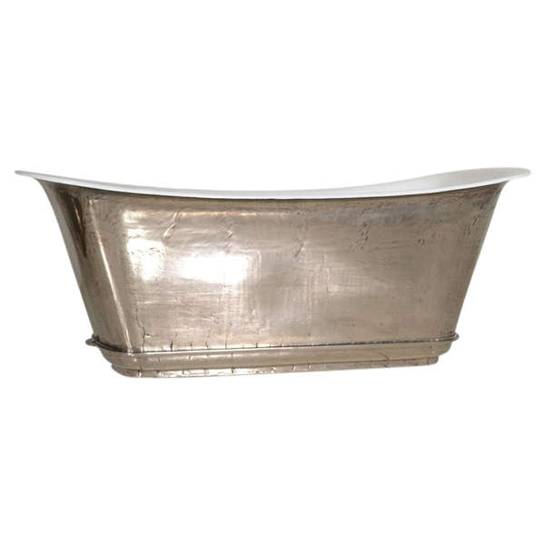 "'The Charroux-73-PN' 73"" Cast Iron Chariot Tub with PURE-METAL Polished Nickel Exterior and Drain"