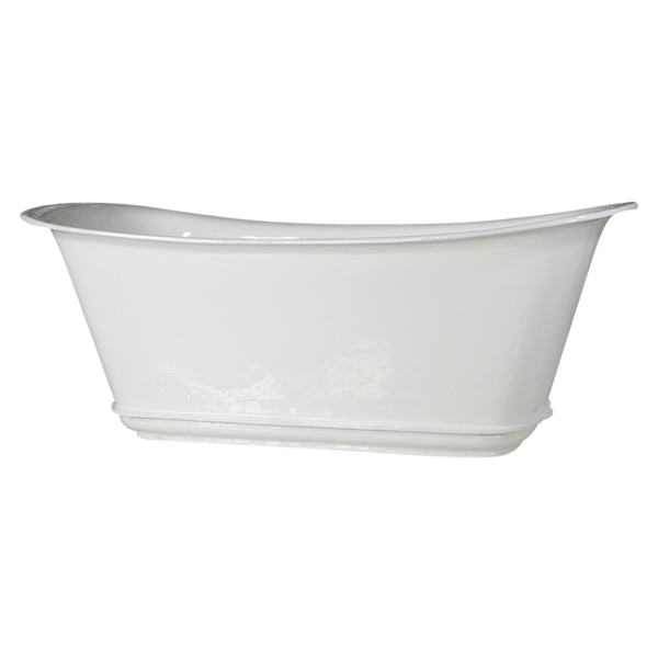 "'The Charroux-WH-73' 73"" Freestanding Cast Iron Chariot Tub with High Gloss White Exterior plus Drain"