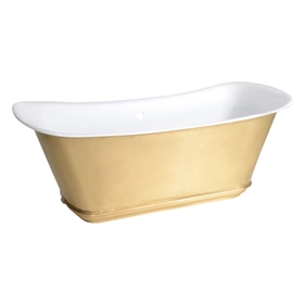 "'The Charroux-LFBU-67' 67"" Cast Iron Chariot Tub with a Burnished Brass Exterior plus Drain"