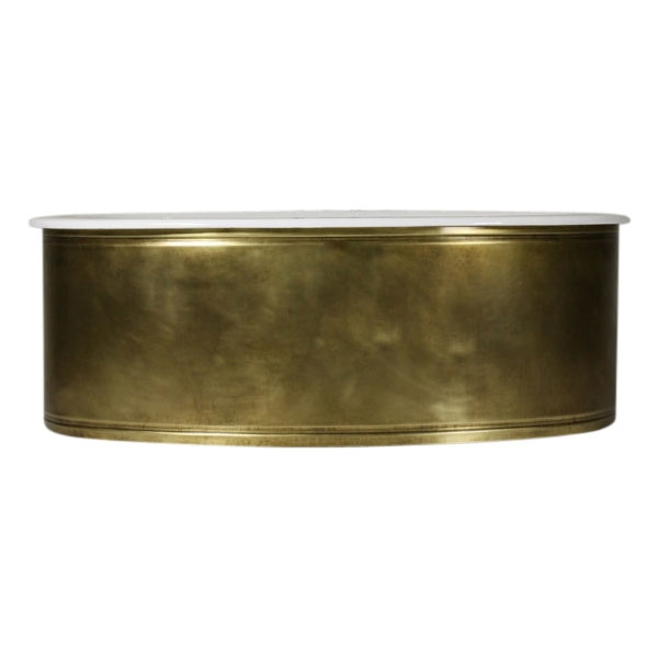 "'The Chelsea' 65"" Oval Cast Iron Double Ended Tub with WEATHERED BRASS Exterior plus Drain"