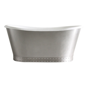 "<br>'The Cranborne' 73"" Cast Iron French Bateau Tub with Burnished Stainless Steel Exterior with Riveted Straps plus Drain<br>"