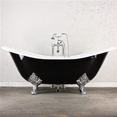 "<br>'The Croxden68' 68"" Cast Iron Double Slipper Tub plus Drain<BR>"